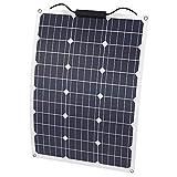 SOLKA a Prueba de Agua 12V 18V Batería Solar Semiflexible Cargador de Panel Solar de 50W con Conector MC4, Para RV, Barco, Cabina, Tienda, Automóvil o Cualquier otra Superficie Irregular