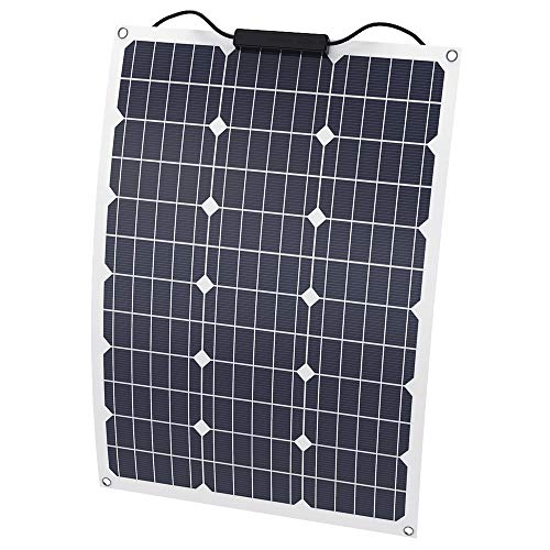 SOLKA wasserdichte 12V 18V semi-Flexible Solarbatterieladevorrichtung 50W Solarpanel-Ladegerät mit MC4-Anschluss, für Wohnmobil, Boot, Kabine, Zelt, Auto, Dächer oder andere unebene Oberflächen -