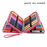 Laconile 124 Holder 4 Layers Large Capacity PU Leather School Pencil Case Bag for Coloured Pencils Watercolour Pencil Arts (Rose Red)