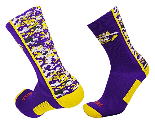 TCK Sport LSU Tigers Digital Camo Crew Socken, Jungen Damen Mädchen Herren, Purple/Gold/White, X-Large -