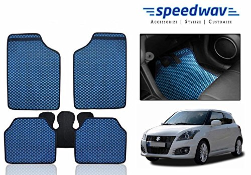 Speedwav Odourless Car Floor/foot Mats 5 Pcs Set Blue-maruti Swift New