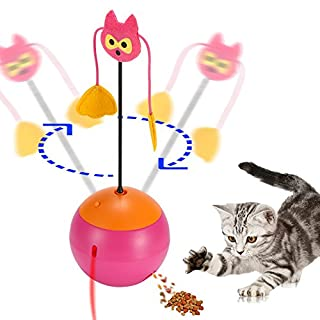 ABEDOE Interactive Cat Toys, Automatic Spinning Cat Toy Ball 3 In 1 Multi Function Automatic Spinning Electric Rotating Ball Tumbler Game Play Battery Operated (Pink)