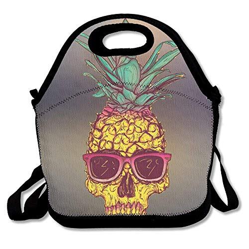 fengxutongxue Pineapple Fruit Glasses Insulated Lunch Bag with Zipper,Carry Handle and Shoulder Strap for Adults Or Kids Black