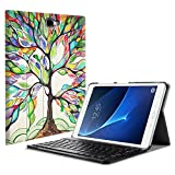 Fintie Bluetooth Tastatur Hülle für Samsung Galaxy Tab A 10,1 Zoll T580N / T585N Tablet - Ultradünn leicht Schutzhülle mit magnetisch Abnehmbarer Drahtloser Deutscher Bluetooth Tastatur, Liebesbaum
