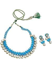 Fashionvalley Sky Blue Beads Designer Kundan Necklace Set For Women