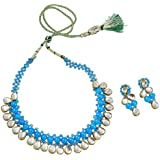 Fashionvalley Blue Beads Beautiful Kundan Choker Necklace Set for Women & Girls