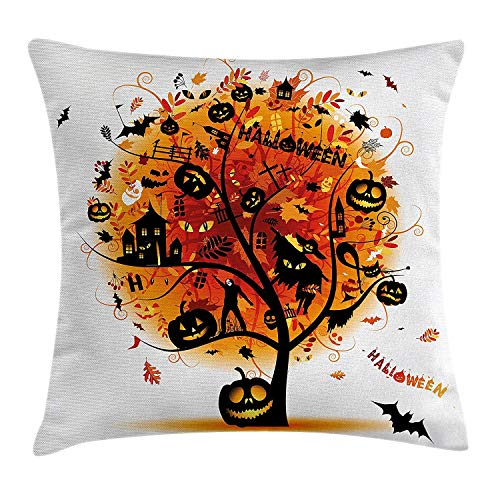 Jolly2T Halloween Decorations Throw Pillow Cushion Cover, Distressed Horror Tree with Mystic Elements Skull Devil Scary Decor, Decorative Square Accent Pillow Case, 18 X 18 inches, Orange Black -
