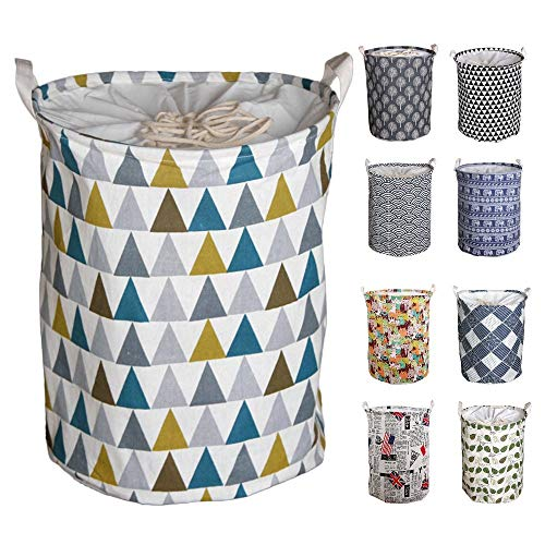 Y-Step Wäschekorb, 45 cm, groß, Pop-Up-Wäschekorb, Kordelzug, wasserdicht, rund, Baumwolle / Leinen, zusammenklappbar Colored Triangle -