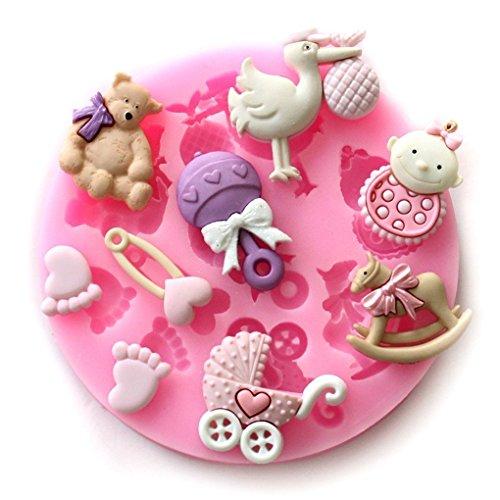 baifeng Candy Formen, in Mini Silikon Zucker, Fondant und Kuchen Form, Baby Dusche Thema, Pink