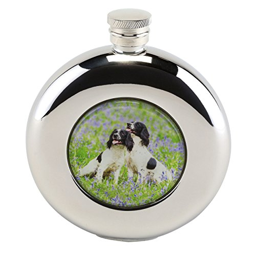 Bisley Hip Flask 4.5oz Round Spaniels stainless steel in Presentation Box -