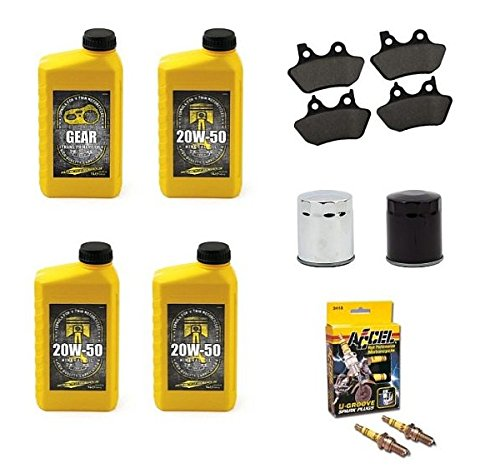 Kit Tagliando Materiale Manutenzione Olio Minerale 20w 50 Olio Trasmissione Primaria Cambio 2 Candele Accel Filtro Nero o Cromato + 2 Coppie Pasticche Pastiglie Anteriori e Posteriori x Harley Davidson Sportster 84-99 dal 1984 al 1999 Sportster XL 883 1200 Iron 883 Nightster Roadster Custom Forty Eight 48 Seventy Two 72 Super Low 883N 883I 883C 883R 1200R 1200N 1200I 1200X