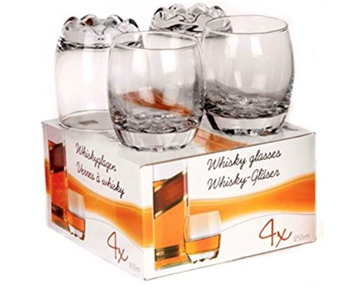 Preisvergleich Produktbild 4x Glas Wein Whisky Tumbler Bormioli Rocco Whiskey Geschenk-Box