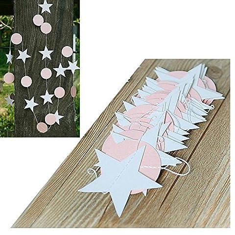 MAXGOODS 2 Stk 4M Hängende Papier Stern Girlande Ballon Ornamente Wand Decke Vorhang Kinderzimmer Dekoration - Rosa