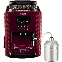Krups EA816570 - Cafetera automática con 15 bares de presión, pantalla LCD, accesorio cappuccino, 3 niveles de intensidad de café, cantidad ajustable, programa automático de limpieza, con molinillo