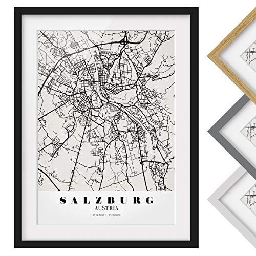 Bild mit Rahmen - Stadtplan Salzburg - Klassik - Rahmenfarbe Schwarz, 55 x 40 cm