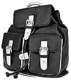 WOOD BAG Damen Rucksack Leder schwarz klein Vollleder Lederrucksack Echtleder Rindsleder Backpack Daypack WBPP08 (Schwarz/Silber)