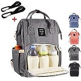Baby Wickelrucksack mit 2 Kinderwagen-haken, Multifunktionale Wasserdichte Wickeltasche mit große Kapazität und warme Tasche, Babytasche für Reise (Grau)
