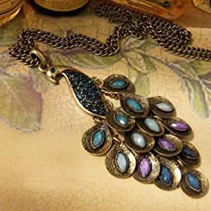 Lingstar(TM) Antique Alloy with Colour Crystal Retro Elegant Peacock Necklace