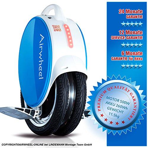 Eléctrico monociclo airwheel Q5Azul de color blanco Potencia del motor 500W batería 260Wh