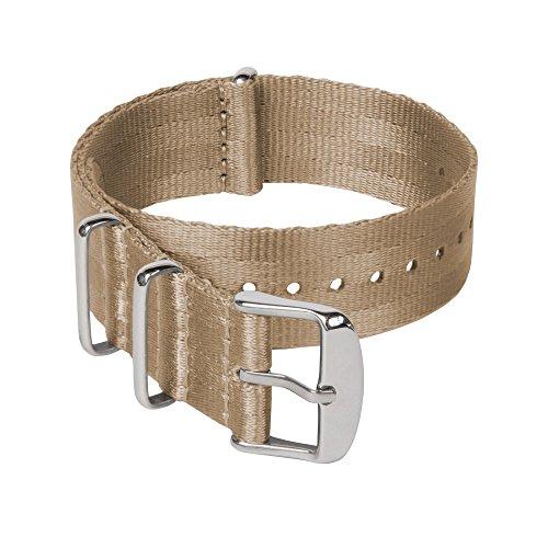 Archer Watch Straps Sicherheitsgurt Stil Gewebtes Nylon NATO Uhrenarmband - Khaki/Edelstahl Hardware, 22mm