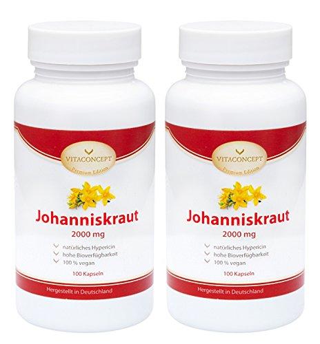 SPAR-PACK 2x Johanniskraut-Extrakt 2000 mg *inclusive natürlichem Hypericin - Das Original nach Johannes dem Täufer (Herrgottsblut) * 200 vegetarische Kapseln hochdosiert made in Germany VITACONCEPT