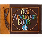 T-HAOHUA Our Adventure Book Photo Album Scrapbook : Anniversary And Wedding Memory Book With Embroidered Leather Hard Cover - Thread-Bound Book With Thick White Paper Sheets For Photographs