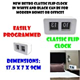 Klassische Uhr mit Fallblattanzeige Neu retro in Weiß und Schwarz erhältlich und kann für das moderne Zuhause oder auch im Büro