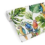 WTD Mantiburi Papier peint Motif'Kvilis - Papagie' Motif jungle tropicale urbain exotique feuilles, multicolore, 5,28m x 0,48m