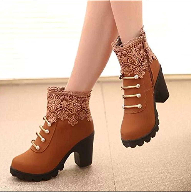 GTVERNH-El Nuevo Otoño Marrón Con Botas Cortas Puntilla En Inglaterra Con La Versión Coreana De Los Zapatos De...