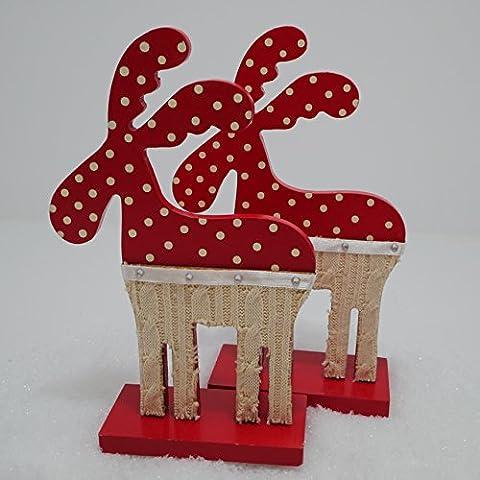 2 Elche rot weiß Rentier 18cm Holz Holzelch Weihnachtsdeko Tischdeko Weihnachten