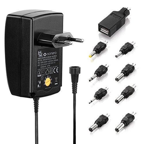 Sonero X-PS030 Universal Stecker Netzteil (3V-12V Drehschalter) mit 9 Adaptern inkl. USB 2250mA, schwarz 12v Ac Mini-usb