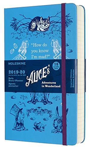 Moleskine Agenda Giornaliera 18 Mesi Alice in Wonderland in Edizione Limitata, Diario Accademico 2019/2020 con Copertina Rigida, Dimensione Large 13 x 21 cm, 608 Pagine, Colore Blu