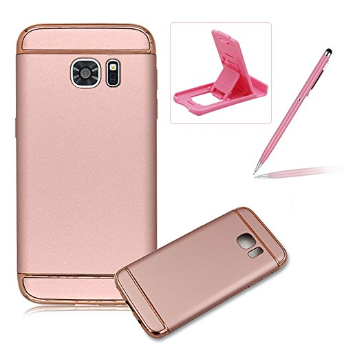 For Samsung Galaxy S7 Hybrid 3 in 1 Detachable Plating Frame Armor Shockproof Hard Case,For Samsung Galaxy S7 Ultra-thin Slim Full Body Protective Non Slip Surface Back Cover,Herzzer Simple Luxury [Electroplating Technology] PC Texture Back All-Round Protection Case For Samsung Galaxy S7 + 1 x Free Pink Cellphone Kickstand + 1 x Free Pink Stylus Pen -Rose Gold Test