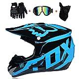 WanSheng Motocross-Helm für Erwachsene MX-Motorrad-Helm-Roller ATV-Helm-Straßenrennen D.O.T Zertifiziert Fox blau mit Handschuhen, Winddichte Schutzbrille (S, M, L, XL),L59~60CM