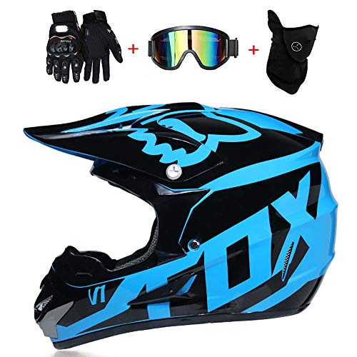 LETU Motocross Adulto Casco MX Motocicleta Scooter Casco ATV Casco Carrera  D.O.T Certificado Fox Azul con bdb00b3a13a