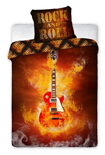 Chitarra biancheria da letto Copripiumino 160x 200+ federa 70x 80idea decorativo 100% cotone, letto 1persona Music Rock and Roll