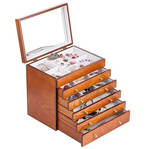 Holz Schmuckkästen mit 5 Schubladen und Spiegel Schmuckkasten Schmuckschrank Aufbewahrung 30 * 21 * 29 CM -