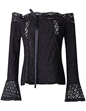 Tops Mujer, ❤️Ba Zha Hei Camiseta de verano del cordón del ganchillo de la blusa sin mangas Negro Flores de Mangas...