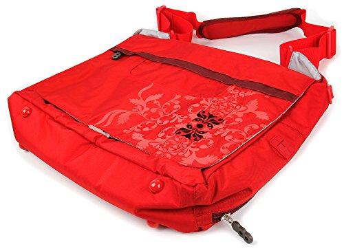 DURAGADGET Gepolsterte und wasserabweisende Laptoptasche für Panasonic Toughbook 52/53 / F9 - mit rot-grauem Design