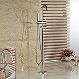 Rozin - Vasca da bagno autoportante, con rubinetto di lusso, montaggio a pavimento, girevole a 360°, con tubo flessibile da 150 cm, finitura cromata
