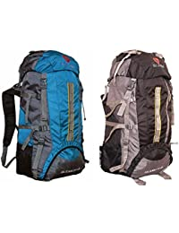 Gleam 2209 Mountain Rucksack / Hiking / Trekking Bag / Backpack 75 Ltrs ( SKY BLUE & BLACK Set Of 2 Bags ) With...