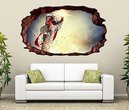 Preisvergleich Produktbild 3D Wandtattoo Medaille Faust Sport Sieger Gewinner selbstklebend Wandbild Wandsticker Wohnzimmer Wand Aufkleber 11G233,  Wandbild Größe F:ca. 97cmx57cm