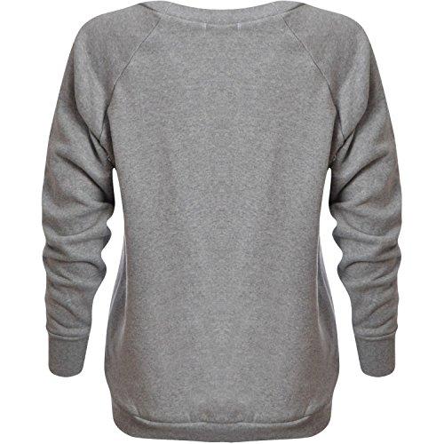 Mix lot nouvelle impression Mesdames Geek Sweat Femmes Top Jumper Imprimer Toison d'hiver Casual Wear Taille 36-42 Gris