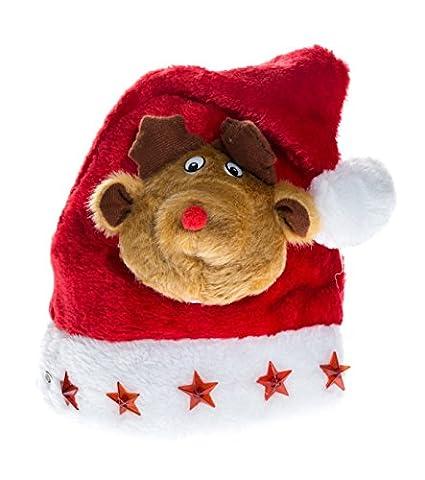 Luxury Kids Santa Hat Christmas Flashing Led Santa Claus Moose Elk reindeer WMX16