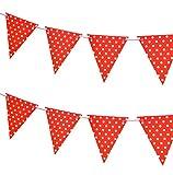 Haodou Wimpelkette Papier Banner Girlande mit 12 Dreieck Wimpeln Bunt Punkt Girlande für Hochzeits,Kinderzimmer Dekoration, Weihnachtsfest und Geburtstagsfeier 3M