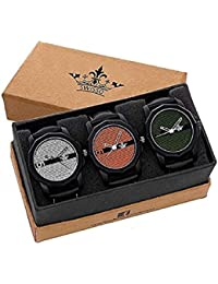 Swisso Combo Of 3 Fashionable Analogue Multicolor Dial Mens And Boys Watches-Combo Of 3 Fashionable Watches