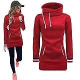 SEWORLD Kapuzenpullover Damen, Neuer Mode Frauen Langarm Kapuzenpullis Bluse Pullover Sweatshirt mit Kapuze Tops (Rot, M)