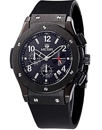 Megir Mens Sport Silicone Military Chronograph Casual Quartz Watch with Black Face by MEGIR