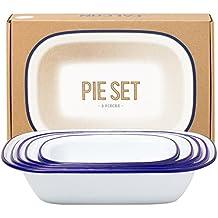 Genuine Falcon Enamelware Pie Set (Classic White with Blue Rim)