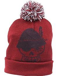 6bdb84482ba222 Wiesnrocker Stylische Winter Bommel-Mütze in 3 Farben (grau, rot, grün).  Mit Totenkopf-Stick auf der Vorder- und…